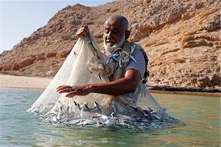 Oman,Muscat Region,Bandar Khayran. A old fisherman fishes for sardines with a traditional net from a beach on the coast near Muscat Stock Photo - Rights-Managed, Code: 862-03360329