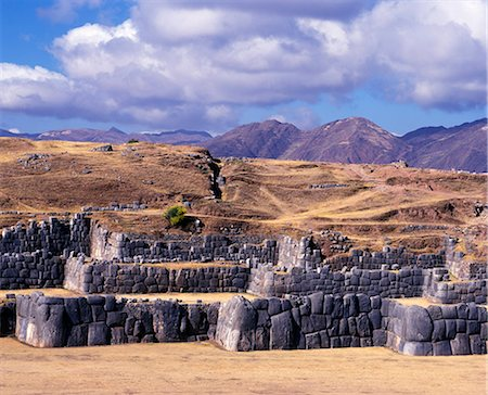 Massive walls of Sacsayhuaman overlooking Cusco. Stock Photo - Rights-Managed, Code: 862-03360693