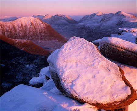 panoramic winter scene - Torridon from Tom na Gruagaich. Stock Photo - Rights-Managed, Code: 862-03361394