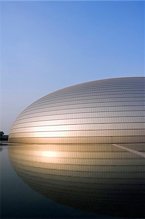 China,Beijing. The National Grand Theatre Opera House also known as The Egg designed by French architect Paul Andreu and made with glass and titanium - opened Sept 25th 2007. Stock Photo - Rights-Managed, Code: 862-03436970