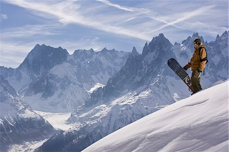 sports and snowboarding - A snowboarder at La Flegere,Chamonix Stock Photo - Rights-Managed, Code: 862-03437087