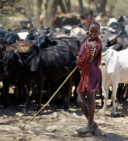 A young Maasai herdsboy controls his family's cattle at the Sanjan River to prevent too many animals watering at the same time. Stock Photo - Rights-Managed, Code: 862-03437402