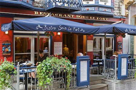 Quebec City, Canada. The patio of a french bistro in Old Quebec City Stock Photo - Rights-Managed, Code: 862-03710640