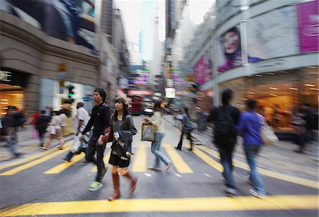 People crossing Queen's Road Central, Central, Hong Kong, China Stock Photo - Rights-Managed, Code: 862-03710735
