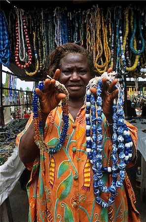 Ghana,Eastern Region,Agomanya. The market at Agomanya is famous for its glass beads. Stock Photo - Rights-Managed, Code: 862-03711598