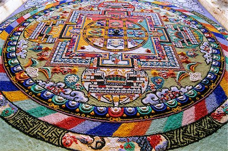 Detail of a Mandala. 'Mandala'  from the Indian language of Sanskrit meaning 'circle'. Diskit, Nubra Valley, Ladakh, India Stock Photo - Rights-Managed, Code: 862-03712079