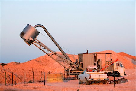 Australia, South Australia, Coober Pedy.   Opal mining machinery at Tom's Working Mine. Stock Photo - Rights-Managed, Code: 862-03736257