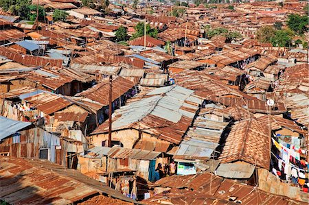 settlement - Kenya, Nairobi.  A crowded part of Kibera, one of Nairobi s largest slums. Stock Photo - Rights-Managed, Code: 862-03736763