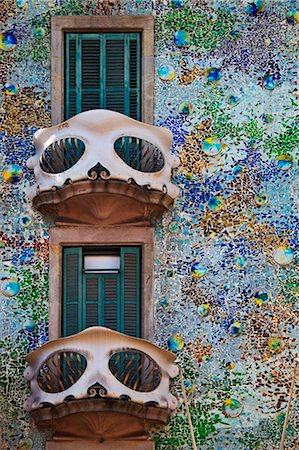 Spain, Cataluna, Barcelona, Eixample, the balconies and facade of Casa Batlo (House of Bones), Architect- Antoni Gaudi Stock Photo - Rights-Managed, Code: 862-03737145