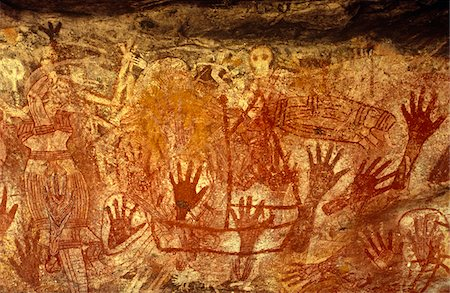 stencils - Australia, Northern Territory, Arnhem Land, nr Mt Borradaile.  Aboriginal rock art in 'Major Art' shelter Stock Photo - Rights-Managed, Code: 862-03730955