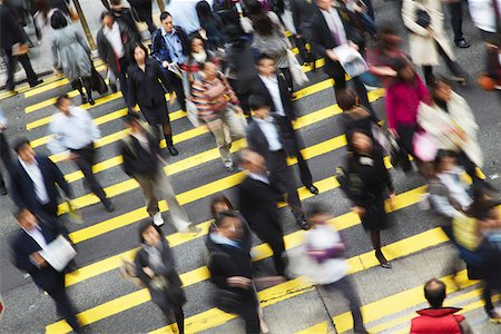 Office workers crossing Queen's Road Central, Hong Kong, China Stock Photo - Rights-Managed, Code: 862-03731029