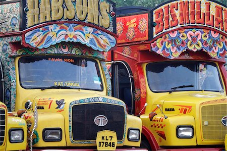 India, South India, Kerala. Painted trucks parked in Cochin. Stock Photo - Rights-Managed, Code: 862-03731376