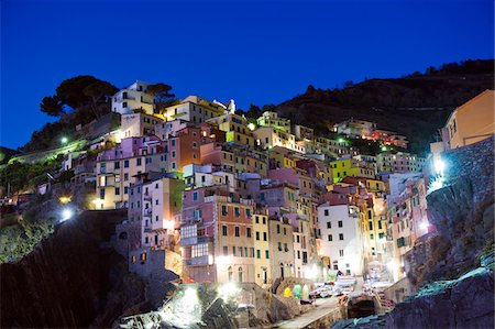 european hillside town - Italy, Liguria, Cinque Terre, clifftop village of Riomaggiore Stock Photo - Rights-Managed, Code: 862-03731437