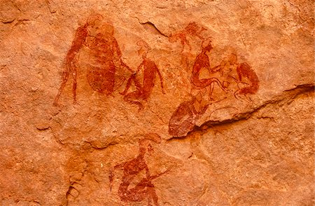 prehistoric - Libya, Fezzan, Jebel Akakus. The celebrated image of women dressing each others' hair on the walls of Uan Amil, Wadi Teshuina Stock Photo - Rights-Managed, Code: 862-03731757