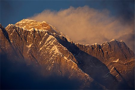 Nepal, Everest Region, Khumbu Valley. Mount Everest at sunset. Stock Photo - Rights-Managed, Code: 862-03731956