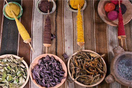dyed - Peru. The raw materials traditionally used by Peruvian Indians to dye wool in subtle colours. Stock Photo - Rights-Managed, Code: 862-03732035