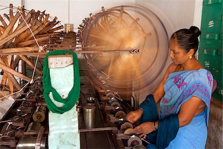 India, Chettinad. A lady making sarees in Chettinad. Stock Photo - Rights-Managed, Code: 862-03807557