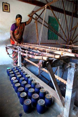 India, Chettinad. A lady making sarees in Chettinad. Stock Photo - Rights-Managed, Code: 862-03807553