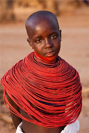 Kenya, Samburu District.  Young Samburu girl in traditional beaded necklaces. Stock Photo - Rights-Managed, Code: 862-03807769