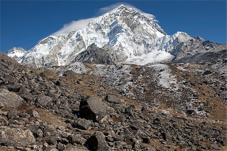 Nepal, Everest Region, Khumbu Valley. Mount Everest view from the edge of lateral moraine on the Khumbu Glacier Stock Photo - Rights-Managed, Code: 862-03808044