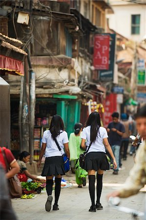 Asia, Nepal, Kathmandu, High School girls in uniform Stock Photo - Rights-Managed, Code: 862-03808055