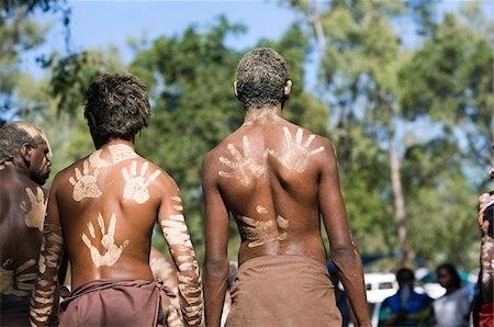 queensland - Australia, Queensland, Laura.  Indigenous dancers with handprint decorations on back. Stock Photo - Rights-Managed, Code: 862-03887278