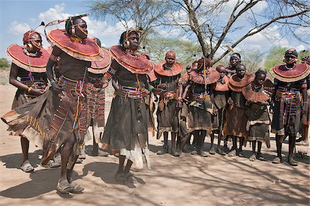 Pokot women and girls dancing to celebrate an Atelo ceremony. The Pokot are pastoralists speaking a Southern Nilotic language. Stock Photo - Rights-Managed, Code: 862-03888695