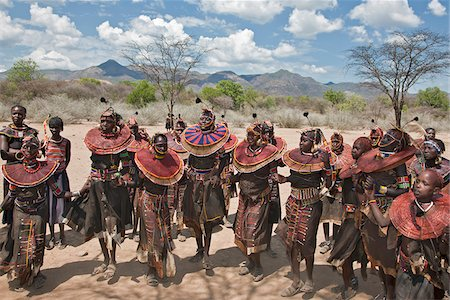Pokot women and girls dancing to celebrate an Atelo ceremony. The Pokot are pastoralists speaking a Southern Nilotic language. Stock Photo - Rights-Managed, Code: 862-03888697
