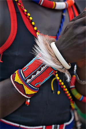 The ornaments of a Pokot warrior including a ring of goat skin which would have been slaughtered for a ceremony. The Pokot are pastoralists speaking a Southern Nilotic language. Stock Photo - Rights-Managed, Code: 862-03888698