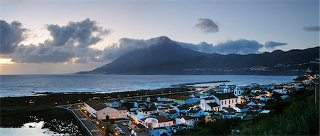 Lages do Pico, one of the most important whaling villages, and the volcano at dusk. Pico, Azores islands, Portugal Stock Photo - Rights-Managed, Code: 862-03889161