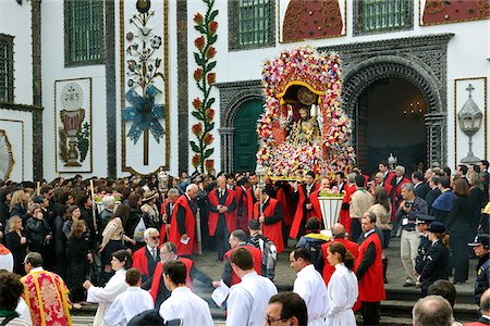 Procession of the Holy Christ festivities at Ponta Delgada. Sao Miguel, Azores islands, Portugal Stock Photo - Rights-Managed, Code: 862-03889206