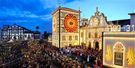 The main church and the procession of the Holy Christ festivities at Ponta Delgada in twilight. Sao Miguel, Azores islands, Portugal Stock Photo - Rights-Managed, Code: 862-03889210