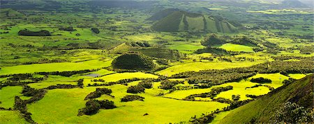 Volcanic landscape with pastures between craters. Pico, Azores islands, Portugal Stock Photo - Rights-Managed, Code: 862-03889229