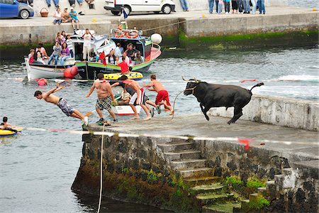 portuguese (places and things) - People flee the bull in a bullfight (tourada a corda) at Porto Martins. Terceira, Azores islands, Portugal Stock Photo - Rights-Managed, Code: 862-03889245