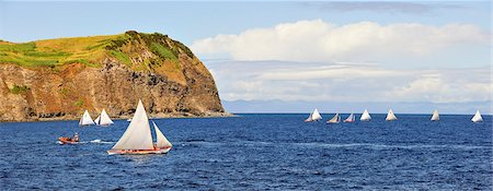 portuguese (places and things) - Whaling boats regattas in the sea channel between Faial and Pico islands. Faial, Azores islands, Portugal Stock Photo - Rights-Managed, Code: 862-03889268
