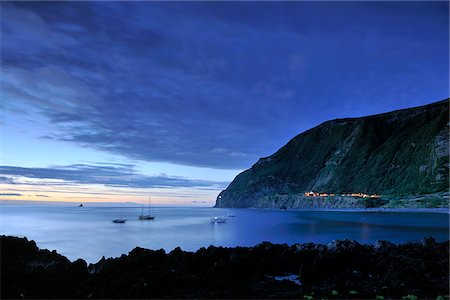 flores - The little village of Faja Grande at night. The westernmost location in Europe. Flores, Azores islands, Portugal Stock Photo - Rights-Managed, Code: 862-03889286