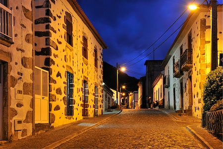 flores - The little village of Faja Grande at night. The westernmost location in Europe. Flores, Azores islands, Portugal Stock Photo - Rights-Managed, Code: 862-03889289