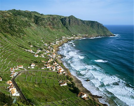 Sao Lourenco Bay with terraced vineyards by the sea. Santa Maria, Azores islands, Portugal Stock Photo - Rights-Managed, Code: 862-03889298