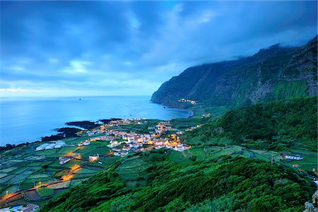 flores - The little village of Faja Grande at night. The westernmost location in Europe. Flores, Azores islands, Portugal Stock Photo - Rights-Managed, Code: 862-03889291