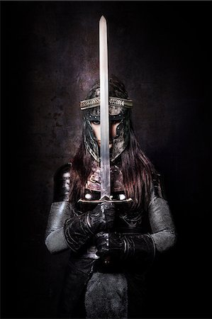 Female knight warning Stock Photo - Rights-Managed, Code: 877-07460605