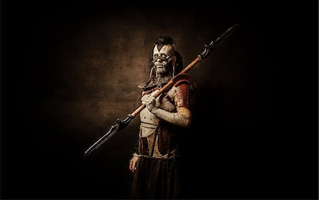 Tribal warrior after the battle Stock Photo - Rights-Managed, Code: 877-07460600