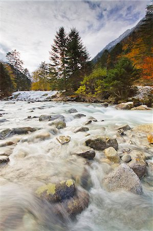 France, Midi Pyrenees, Hautes Pyrenees, River and Lutour valley in autumn Stock Photo - Rights-Managed, Code: 877-08026609