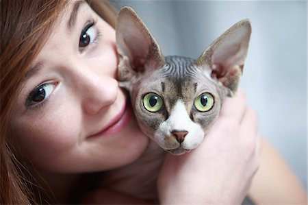 preteen girl pussy - France, teen and sphinx cat. Stock Photo - Rights-Managed, Code: 877-08079023