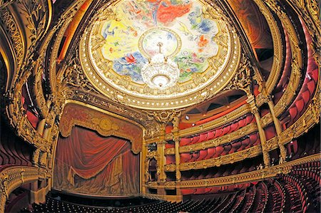 France,Paris. 9th district. Palais Garnier, Paris Opera. La Salle de Spectacle. Chagall paintings celling. Stock Photo - Rights-Managed, Code: 877-08128472