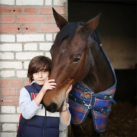 A boy stroking a horse in a stable Stock Photo - Rights-Managed, Code: 877-08128951