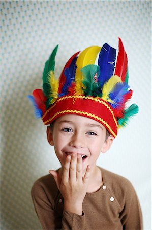 6 years old boy wearing a Indian outfit Stock Photo - Rights-Managed, Code: 877-08129136