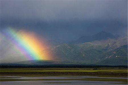 refraction - Rainbow over the steppe, Mongolia Stock Photo - Rights-Managed, Code: 878-07442658
