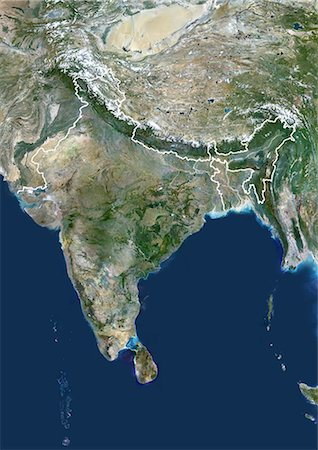 dhaka - Satellite View of India and Surrounding Area Stock Photo - Rights-Managed, Code: 872-06054022