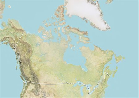Canada, Relief Map With Border Stock Photo - Rights-Managed, Code: 872-06054199