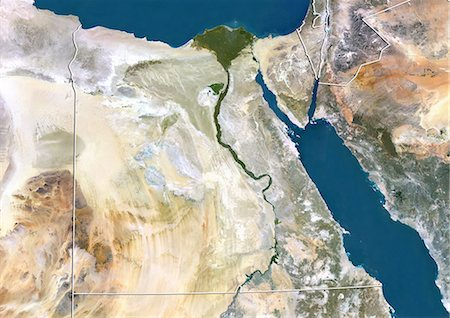egypt - Egypt, True Colour Satellite Image With Border Stock Photo - Rights-Managed, Code: 872-06054297